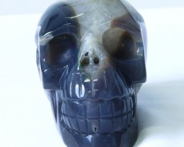 1.60Kilo Crystal Geode on jasper hand carved Skull  WS 511
