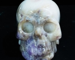0.66Kilo Crystal Geode on jasper hand carved Skull  WS 513