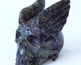 0.324Kilo Wings Jasper  hand carved Skull  WS 518