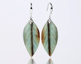 45.5cts New  Amazonite carved leaf  Earrings With 925 Sterling Silver