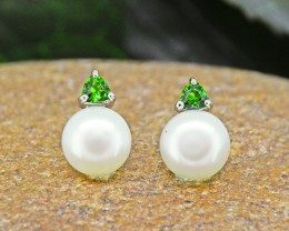 N/R Natural Chrome Diopside & Pearl 925 Sterling Silver Earrings