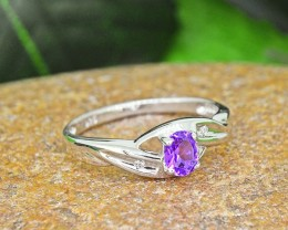 N/R Natural Amethyst925 Sterling Silver Ring  (SSR0450)