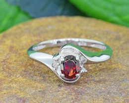 N/R Natural Garnet925 Sterling Silver Ring  (SSR0444)