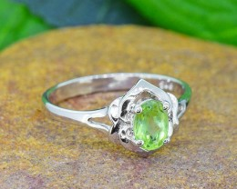 N/R Natural Peridot 925 Sterling Silver Ring  (SSR0445)