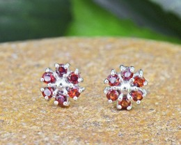 N/R Natural Garnet  925 Sterling Silver Earrings (SSE454)