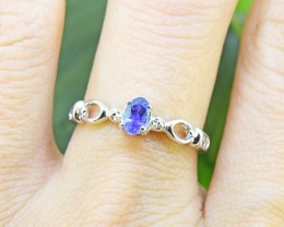N/R Natural Blue Sapphire925 Sterling Silver Ring  (SSR0452)