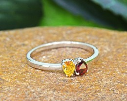 N/R Natural Garnet & Citrine 925 Sterling Silver Ring (SSR0451)