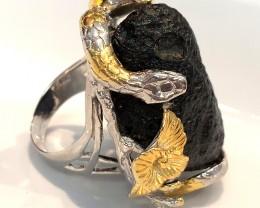 Huge Tektite Meteorite Serpent Frog Ring .925 Sterling Silver with 14kt Gol