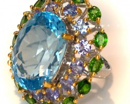 A Tanzanite Chrome Diopside Topaz Ring Size 8 Sterling Silver and 14kt Gold