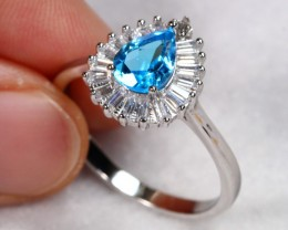 17.72cts Blue Topaz Sterling 925 Silver Ring US 9.25