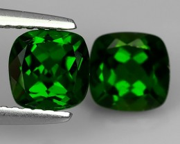 2.40 Cts Eye Catching Natural Rich Green Chrome Diopside Cushion Pair