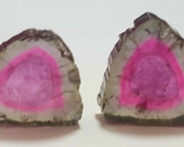 21 Carats  Watermelon Tourmaline Slices Both Side Polished