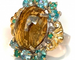 Regal Bliss' Emerald Zircon Citrine ring Size 10 Sterling Silver 14kt Gold