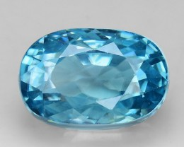 6.75 Cts Blue Zircon Awesome Color and Luster ~ Cambodia ZR24