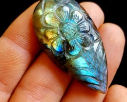 Labradorite Pear Cab Flower Carved - 79.00cts - Africa