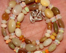 Natural Ethiopian Welo Fire Opal Oval & Rondelle Beads Necklace 3
