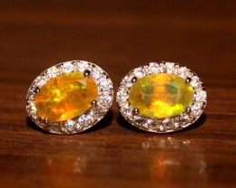 Natural Ethiopian Welo Fire Opal 925 Sterling Silver Stud Earrings 287