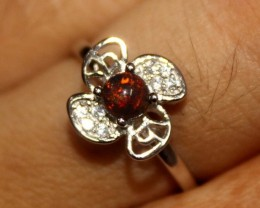 Ethiopian Fire Smoked Opal 925 Sterling Silver Ring  Size (4.5) 274
