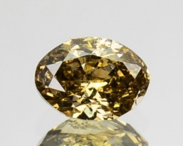 ~UNTREATED~ 0.32 Cts Natural Golden Champagne Diamond Oval Cut Africa