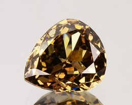 ~UNTREATED~ 0.51 Cts Natural Golden Champagne Diamond Pear Cut Africa