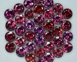 36.19 Cts Fabulous Natural 6mm Round Rhodolite Parcel