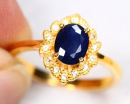 Lot 13 ~ 3.03gm Natural Blue Sapphire Silver Ring Sz 5 3/4