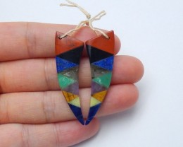 31.5cts Fashion natural mix gemstone intarsia earrings (A225)