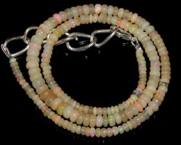 49 Crt Natural Ethiopian Welo Fire Opal Beads Necklace Jewlery 32