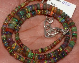 Natural Ethiopian Welo Fire Smoked Black Opal Beads Necklace 12