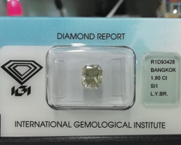 1.90 CTS IGI CERTIFIED NATURAL FANCY LIGHT YELLOWISH BROWN DIAMOND SI1