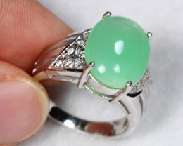 25.36cts Green Jadeite Sterling 925 Silver Ring US 6.5