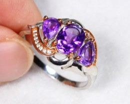 18.65cts Purple Amethyst Sterling 925 Silver Ring US 8.75