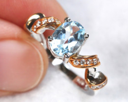 16cts Blue Topaz Sterling 925 Silver Ring US 6