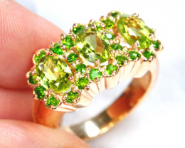 45cts Green Peridot Sterling 925 Silver Ring US 7.5