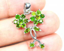 11.92cts Green Chrome Diopside Sterling 925 Silver Pendant