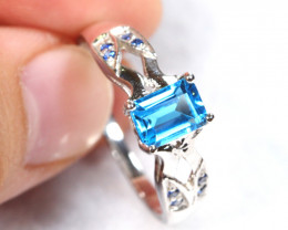14.06cts Blue Topaz Sterling 925 Silver Ring US 8.75