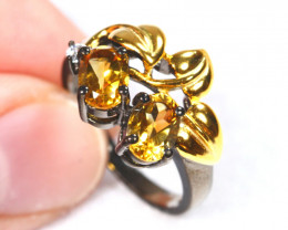 19.02cts Yellow Citrine Sterling 925 Silver Ring US 6.75