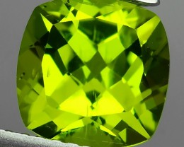 2.45 Cts.Magnificient Top Sparkling Intense Green-Cushion 8.00MM~ NR!!!