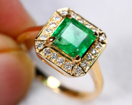3.75g 14K Solid Gold Emerald Diamond Ring Sz 6 3/4 ~ A10/1