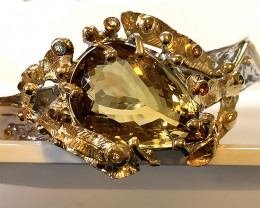 Extra Large Citrine Sapphire 14kt Gold .925 Sterling Silver Bangle