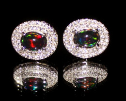 Ethiopian Welo Fire Smoked Opal 925 Sterling Silver Stud Earrings 272