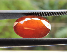 3.10ct ORISSA HESSONITE GARNET OVAL FACETED REDDISH ORANGE GEMSTONE
