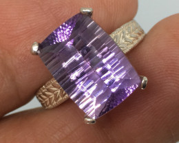 6.25 Carat VVS Amethyst Millennium Sterling Silver Ring - Stunning