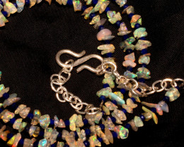 27 Crt Natural Ethiopian Welo Fire Uncut Opal & Lapis Lazuli Necklace