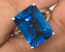 SALE ! 10.71 Carat VVS Topaz London Blue Sterling Silver Ring - Spectacular