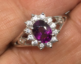 SALE ! 0 .90 Carat VS Garnet Malawi Zircon Platinum over Silver Ring!