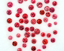 2.01 Cts Natural Sparkling Red Spinel 2.5 - 1.8 mm Round Cut 49 Pcs Tanzani