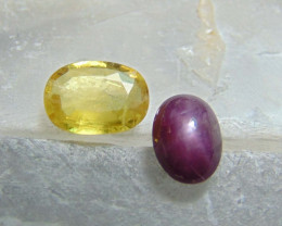 Mix colors stones ~ yellow sapphire ~ indian star ruby   2.60 cts