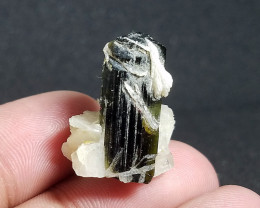 Natural Green Cap Crystal With Cleavelandite From Pakistan