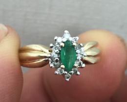 (B3) Fantastic Nat. Vintage 0.27ct Col. Emerald & Diamond Ring 10K YG 2